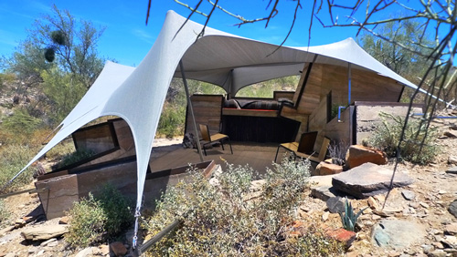 ... Architecture in Taliesin Arizona. The open-air living space incorporates tensile fabric structures into its design to shelter occupants from the sun. & Arizona u2013 EARTH ARCHITECTURE
